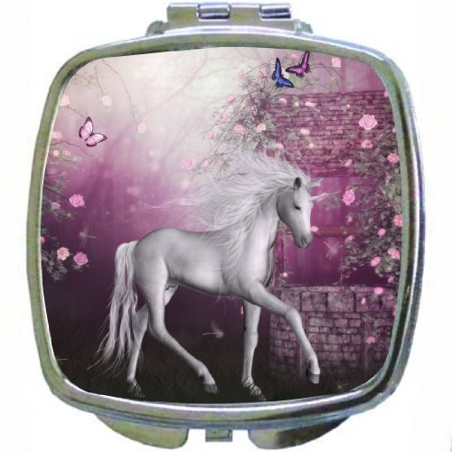 Rikki Knighttm White Unicorn On Pink Fairytale Design Compact Mirror front-628389