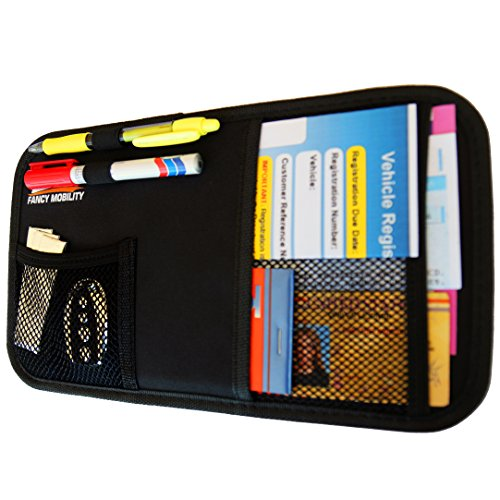 Fancy Mobility Car Sun Visor Organizer - Auto Document and Small Storage Holder - Pouch for Registration and Insurance - Perfect Minimalist Design - Comes With a Unique eBook and 5-Year Warranty (Car Organizer Jeep compare prices)