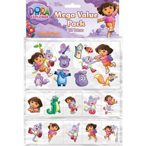 "Amscan Dora Temporary Tattoo Favor Value Pack, 12-1/2 x 8-3/8"", Multicolored"