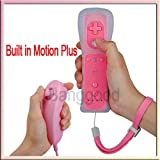 2X Built-in Motion Plus Wiimote Remote Controller + Nunchuck For Nintendo Wii Pink