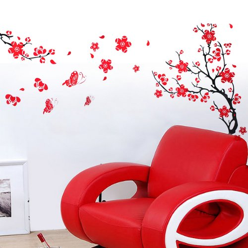 SODIAL(R) Blossom Red Flowers Tree Wall Stickers Mural art Decal Wallpaper Decor Reusable
