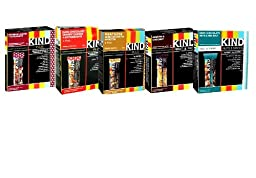 KIND Bars VARIETY PACK: 1 box of DARK CHOCOLATE CHERRY CASHEW, 1 box of PEANUT BUTTER DARK CHOCOLATE, 1 box of DARK CHOCOLATE NUTS & SEA SALT, 1 box of CRANBERRY ALMOND + ANTIOXIDANTS, 1 box of COCONUT ALMOND. Each box contains 4 bars. 5.6 oz.