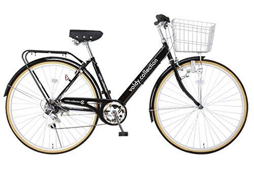 VOLDY ヴォルディ 自転車 27インチ ヨーロピアンシティサイクル ダイナモLEDライト シマノ6段変速 VOLDY VO-CTV276LED フレーム ブラック
