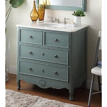 34u201d Cottage Look Daleville Bathroom Sink Vanity   Model HF081Y (Vintage  Mint Blue) ...