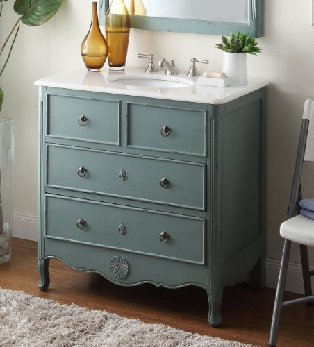 "34"" Cottage look Daleville Bathroom Sink Vanity - Model HF081Y (Vintage mint blue) 0"