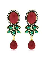 Peora Coral Fantasy Drop Earrings With Gold Plating (PFDE1062O)
