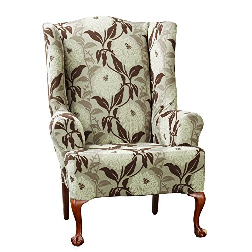 Sure Fit Stretch Dhalia Wing Chair Slipcover, Brown front-936278