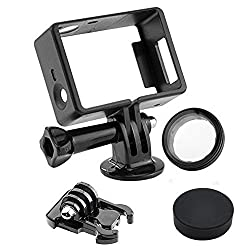 Kebo Frame Mount Accessories Kit for Gopro Hero 4 3+ 3 Camera Includes a Large Screw/tripod Mount /Rubber Lens Cap/uv Filter Lens Protector/surface Quick Release Buckle