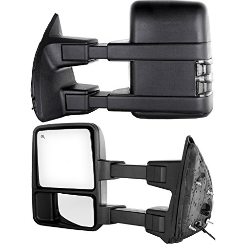 Towing Telescoping Folding Black Textured Tow Mirrors Manual with Smoke Signal and Dual Glass for 08-14 Ford F250 F350 F450 F550 Super Duty Left&right Passenger&driver Side View Mirror Pair Set (2008 Super Duty Mirrors compare prices)