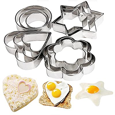 Bihood Fruit Cutter Cake Cookie Biscuit Egg Fondant Molds Cake Chocolate Cupcake Maker for Kids Cutter Babycakes Cupcake Maker for Girls Sugarcraft Cutter Made of Expensive 403 Stainless Steel 12 PCS