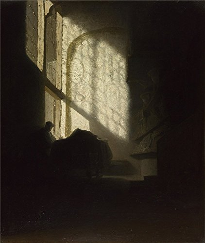 'Follower Of Rembrandt A Man Seated Reading At A Table In A Lofty Room ' Oil Painting, 30 X 36 Inch / 76 X 90 Cm ,printed On Polyster Canvas ,this High Quality Art Decorative Canvas Prints Is Perfectly Suitalbe For Laundry Room Artwork And Home Decor And Gifts
