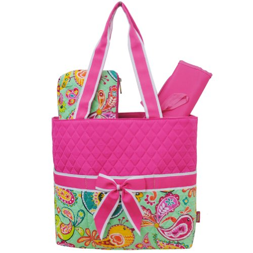 Floral Bird Print Quilted 3Pc Diaper Tote Bag (Hotpink)