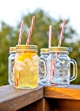 Mason Jar Mugs with Handle, Tin Lid and Plastic Straws. 16 Oz. Each. Old Fashion Drinking Glasses - Pack of 4