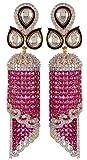 Violet & Purple Gold & Silver Alloy Jhumki Earrings for Women (1000030637)