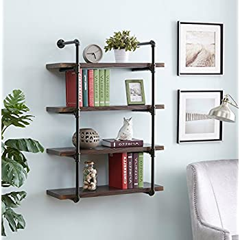Homissue 4-Shelf Rustic Pipe Wall Shelves, 31.5-Inch Vintage Industrial Wall Shelf, Espresso-Brown