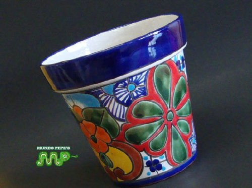 "MEXICAN TALAVERA Ceramic Flower Planter Pot 7"" [Vibrant Hand Painted Colors]"