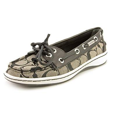 Coach Richelle Womens Size 8.5 Black Moc Leather Boat Shoes