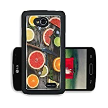 buy Liili Premium Lg Optimus L70 Dual Aluminum Snap Case Set Of Sliced Citrus Fruits Lemon Lime Orange Grapefruit With Mint Ice And Vintage Knife Over Wooden Background Top View 29093707