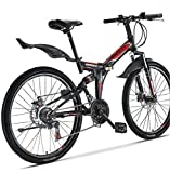 Xspec 26 21 Speed Folding Mountain Bike Bicycle Trail Commuter Shimano Black