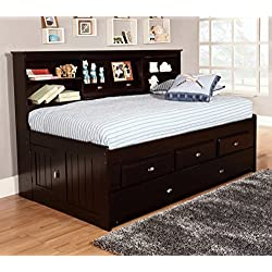 Discovery World Furniture Bookcase Daybed with 6 Drawers, Twin, Espresso