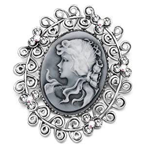 Pugster Classic Antique Lady Maiden Profile Oval Gray Beauty Cameo Clear Floral Clear Swarovski Crystal Diamond Accent Brooches Pins