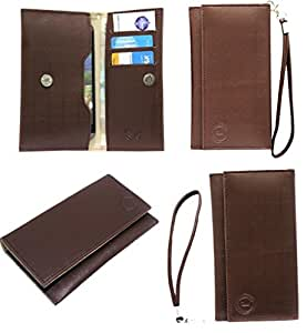 Jo Jo A5 D4 Leather Wallet Universal Pouch Cover Case For Huawei Y6 Pro Brown