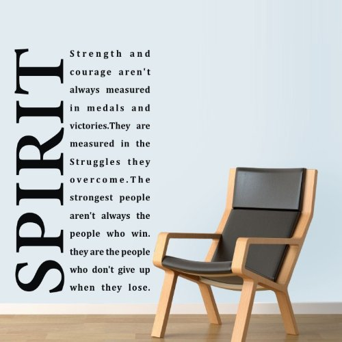 """23.6"""" X 39.4"""" Large Black Wall Sticker Decals Saying Spirit Strength And Courage Aren'T Always Measured In Medals And Victories. They Are Measured In The Struggles Murals Art Decor front-502444"""