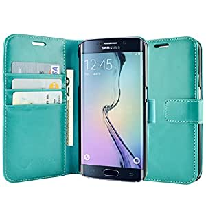 S6 Edge Case, S6 Edge Wallet Case, caseen Ottimo Leather Slim Folio (Turquoise Mint Teal Green) w/ Credit Card Pockets Kick Stand Flip Cover for Samsung Galaxy S6 Edge