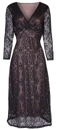 LINDY BOP 'SABINA' VINTAGE 1940's 1950's STYLE BLACK LONG SLEEVED LACE WIGGLE DRESS (16)