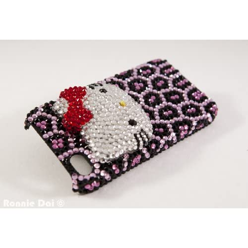 3d Custom Swarovski Hello Kitty Crystal Bling Case Cover for Apple Iphone Iphone 4/4s