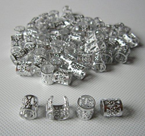 Dread Lock Dreadlocks Braiding Beads SILVER Metal Cuffs Hair Accesories Decoration Filigree Tube 6mm 12pcs Pack by Magic