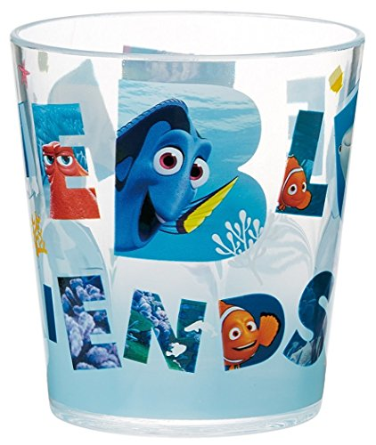 Japan Disney Official Finding Dory - True Blue Friends Fancy Acrylic Tumbler with Nemo and Marlin Transparent Water Cup Movie Cover Cartoon Illustration Style Dinnerware (Fancy Clownfish)