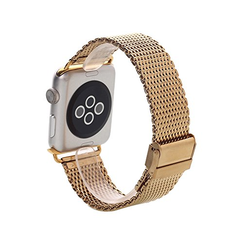 Apple Watch Band, Pandawell™ Stainless Steel Classic Buckle Watch Strap Replacement Band with Metal Adapter for 38mm Apple Watch / Sport / Edition (38mm-Gold)