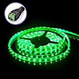 BaiLun 16.4 Feet (5 Meter) Flexible LED Light Strip with 300x SMD 3528 and Adhesive Back, 12 Volt, WaterProof, Green