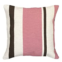 Pink Stripes 18x18 Wool Needlepoint Pillow