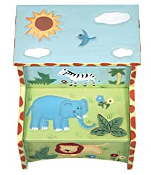 Guidecraft Kids Hand Painted Safari Toy Storage Step-up Stool