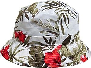 White Floral Print Bucket Hat Hawaiian Boonie Cap by KB Ethos