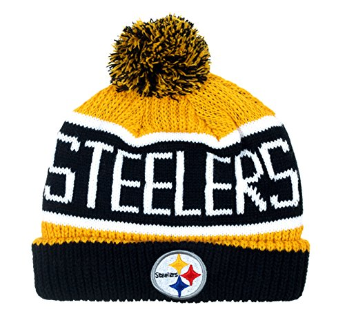 NFL Pittsburgh Steelers Calgary Cuff Knit Cap with Pom (Super Bowl Champions Winter Hat compare prices)