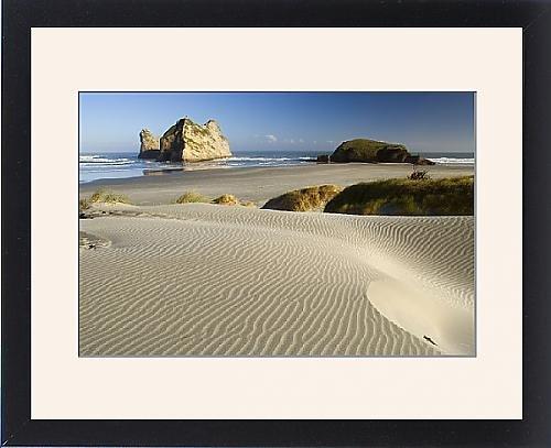 Framed Print Of Wharariki Beach - White Sand Dunes Of Whaririki Beach