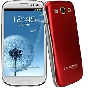 xubix Full Metal Akkudeckel für Samsung i9300 Galaxy S3 Rot Red brushed Metall Aluminium mit dezent weißem Rand