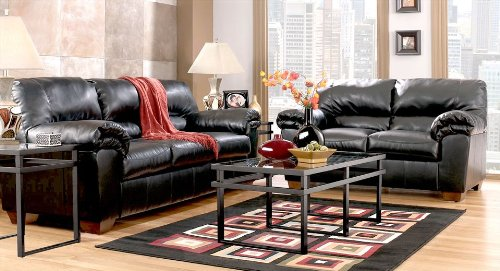 Picture of AtHomeMart Black Sofa, Loveseat, Chair, and Ottoman Set (ASLY6450038_6450035_6450020_6450014_4PC) (Sofas & Loveseats)