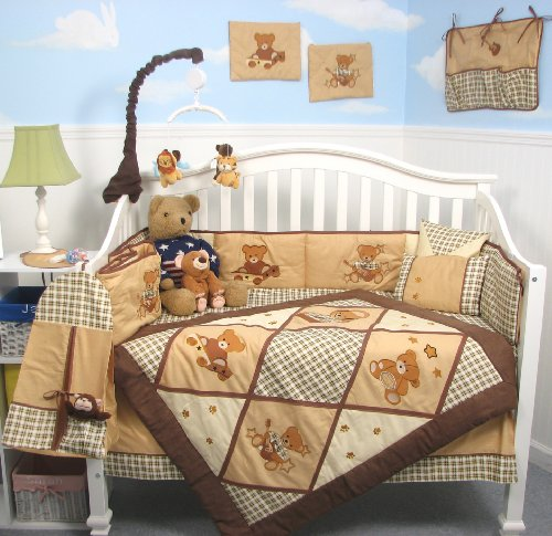 SoHo Classic American Teddy Bears Baby Crib Nursery Bedding Set 13 pcs included Diaper Bag with Changing Pad and Bottle Case