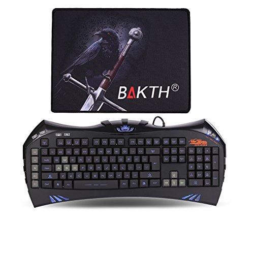 BAKTH Einzigartige Premium beleuchtete LED Backlit Multimedia Wired USB Gaming Tastatur US Layout + Kundenspezifische große Mäusematte