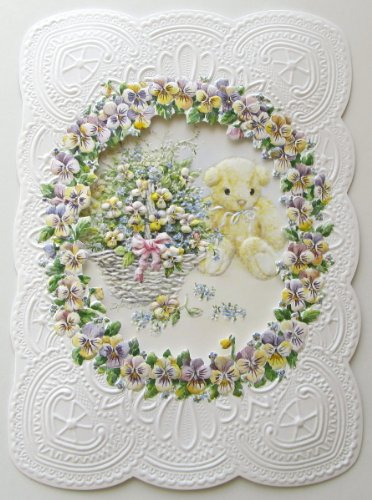 Carol Wilson Baby Shower Card Pansies Teddy Bear
