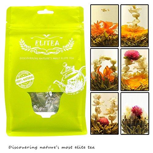 Elitea® 12 Pieces Premium Silver Needle Blooming Flowering Artisan Craft Display Flower Tea Ball (6 Styles Variety Package)