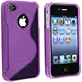 niceEshop(TM) TPU Rubber Skin Case Compatible With Apple iPhone 4, Clear Dark Purple S Shape