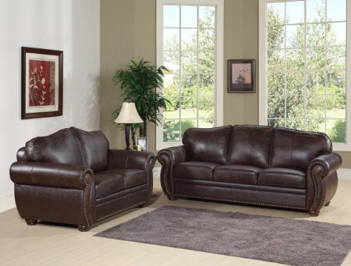 3 Piece Set, Premium Italian Leather Sofa, Armchair, and Ottoman