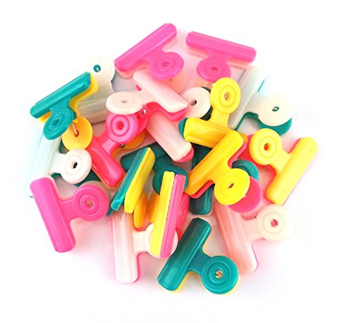 yueton 20pcs Mixed Double Color Plastic Bulldog Clips, Utility Paper Clips, Hinge Clips for Home, Office Use (Mixed Binder Clips compare prices)