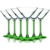 Light Green Martini/Cocktail Glasses with Beautiful Colored Stem - 10 oz. set of 6- Additional Vibrant Colors Available by TableTop King