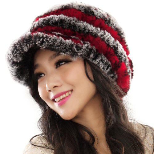 Women's Rex Rabbit Fur Peaked Caps Hats Multicolor (Grey & Red)